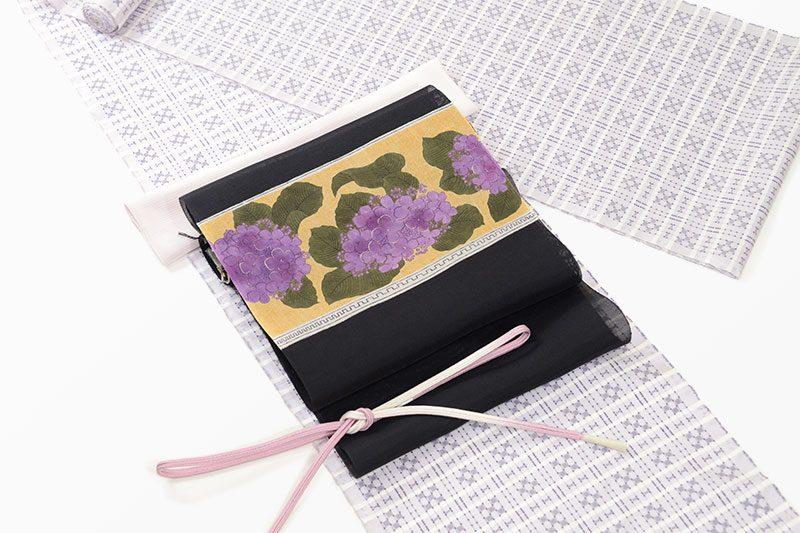 大島紬(五ツ四絣)に染名古屋帯(紫陽花)