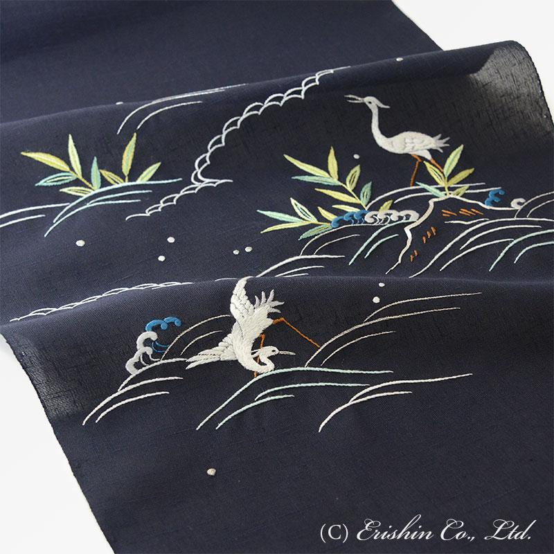 オリジナル刺繍名古屋帯(岸辺の白鷺)