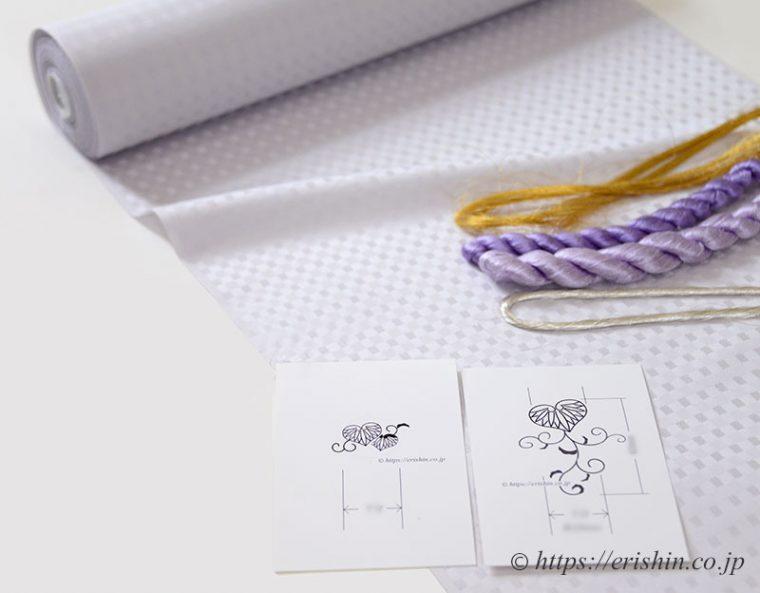 最終決定の葵唐草の図案と刺繍糸
