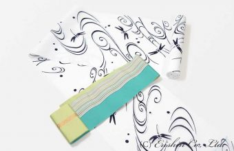 竺仙白地綿絽浴衣に博多半幅帯