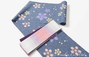 竺仙紬浴衣(梅鉢)に麻半幅帯