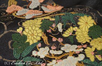 袋帯(四君子花丸紋/手織り)