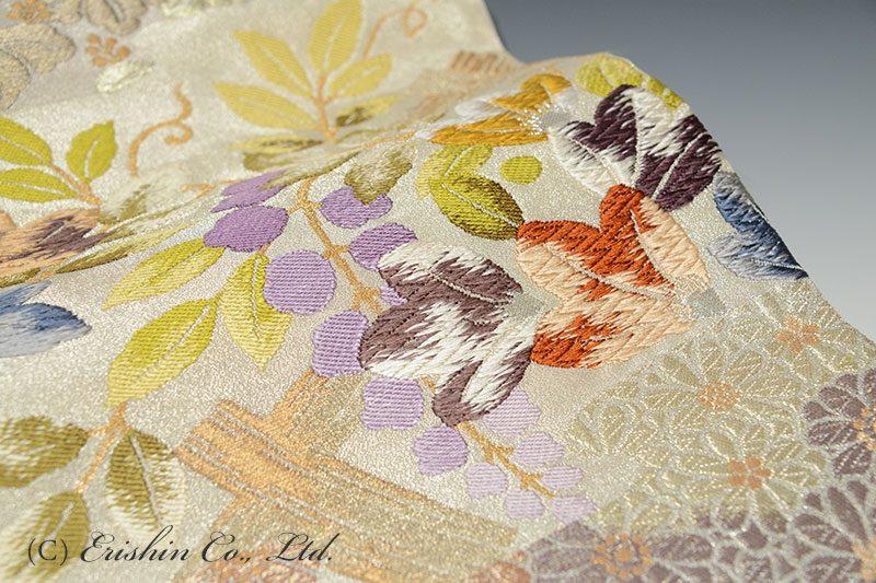 袋帯(菊桐藤花文/手織り)