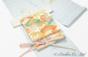 東京友禅の付下に手織りの袋帯