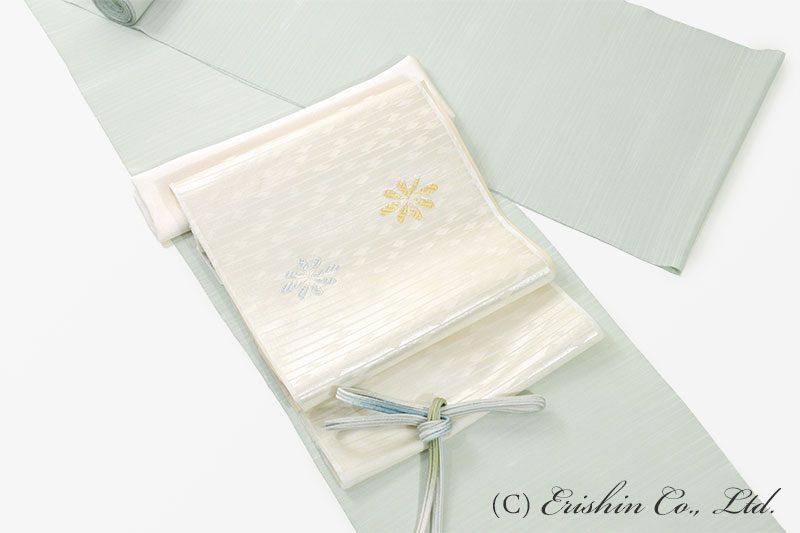 しけ引き小紋と織り名古屋帯のコーディネート