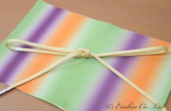 帯揚げ(カラフルボーダー/若草色×桑の実色×橙色)