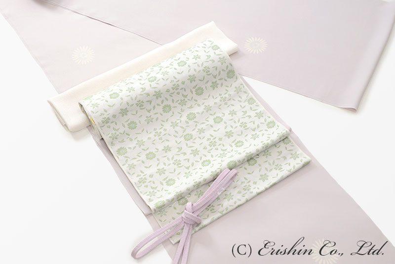 丸菊紋の飛び柄小紋と織名古屋帯
