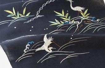 【夏・単衣】オリジナル刺繍名古屋帯(岸辺の白鷺)