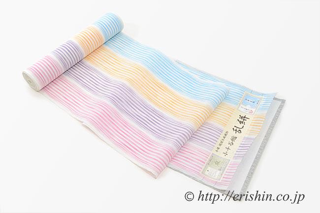 小千谷縮(四色縞/チェリーポップ)広巾