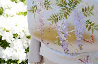 オリジナル刺繍袋帯(藤棚に蝶)着用画像、お太鼓