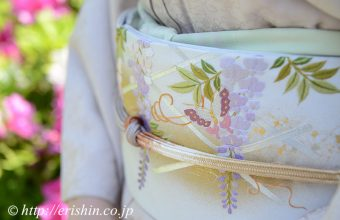えり新-刺繍袋帯(藤棚に蝶)前腹