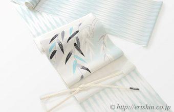 夏のコーディネート、山絣の明石縮に湯本エリ子さんの帯