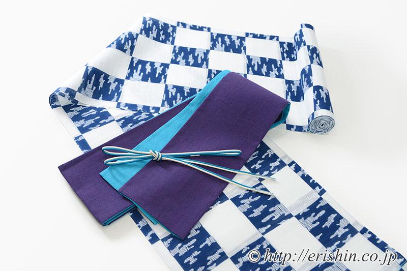 竺仙綿絽浴衣に麻半巾帯(リバーシブル)