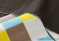 色を楽しむ 久米島紬にカラフル石畳文名古屋帯