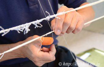 本場結城紬手引き真綿糸の絣括り