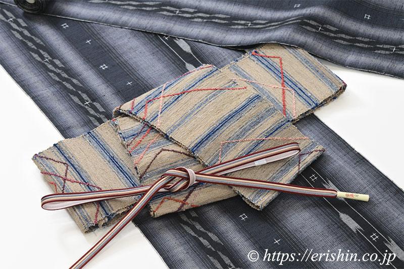 置賜紬に裂織半幅帯