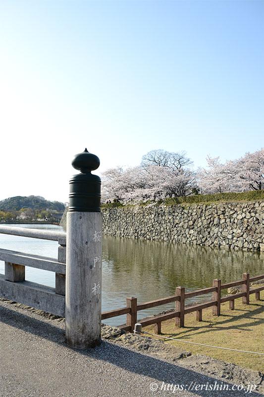 姫路城の堀に架かる「桜門橋」と桜