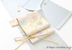 夏付下(楓に波)に葵文様の紗袋帯