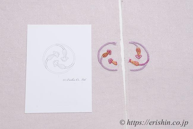 えり新オリジナル刺繍洒落紋(三ツ房の丸)