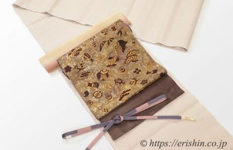 地機本場結城紬に手織りの名古屋帯(宝尽くし)