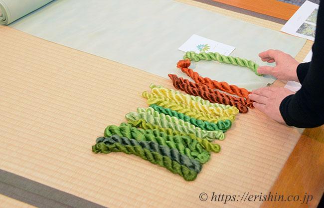刺繍洒落紋のお誂え「ゆずり葉」色糸の選択