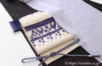 モールコートを羽織る 士乎路紬に洛風林の八寸織名古屋帯