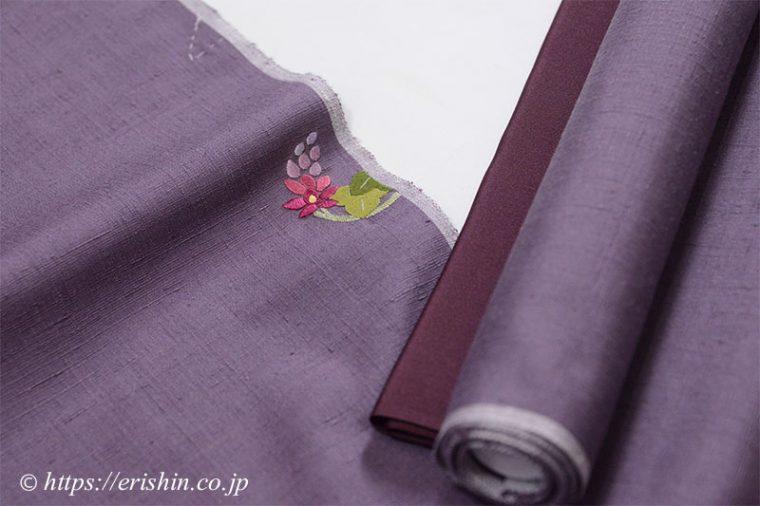 反物に入ったお誂え刺繍洒落紋(葛花の丸)と別染めの八掛