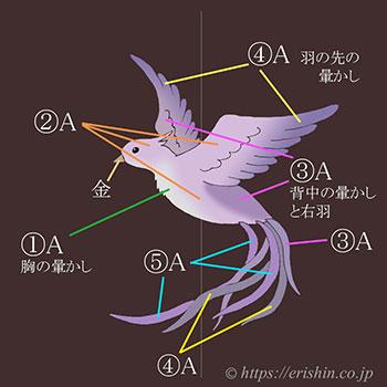お誂え刺繍洒落紋(飛翔)色図案