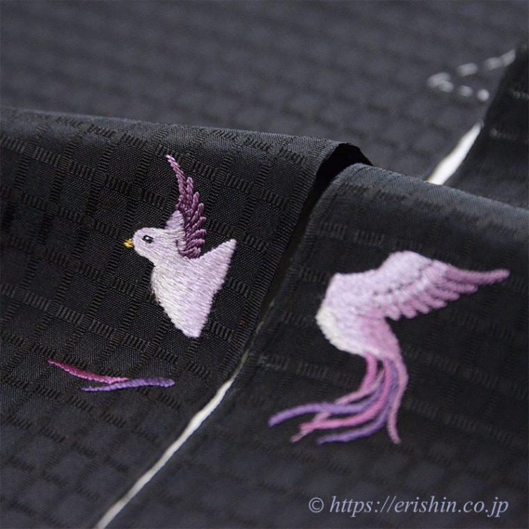 お誂え刺繍洒落紋(飛翔)縫い上がり