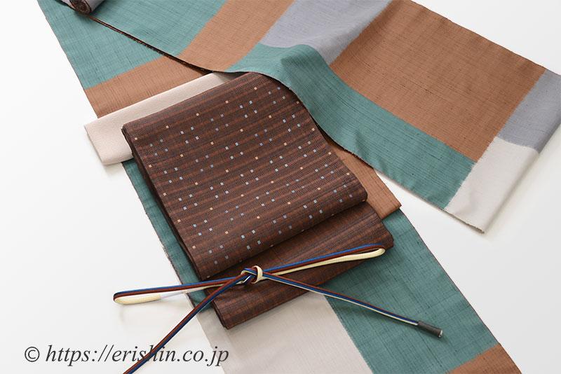 伊那紬(大きなモザイク)に袋帯(小格子段織)
