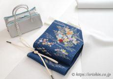 長井お召(白鼠色)[単衣用]に染名古屋帯(御所解き/青藍)和小物さくらバッグ