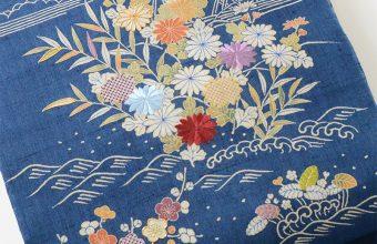 染名古屋帯(御所解き/青藍色・生紬)