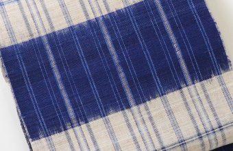 八寸織名古屋帯(藍横段/麻)