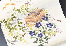 夏染名古屋帯(秋草に虫籠/紗紬)