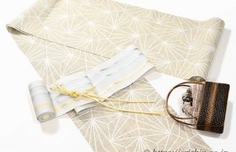 紫織庵の麻の葉柄大正友禅浴衣に紗博多半幅帯のコーディネート