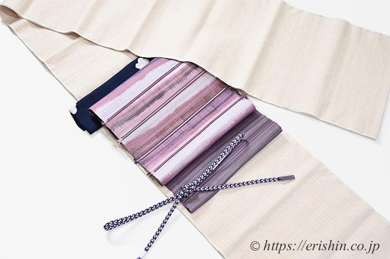 着物と帯・帯締め帯揚げのコーディネート「本場結城紬にアジアの懐、宮崎涼子さんの名古屋帯を」
