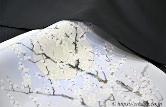 勝山さと子「絹雲織/黒無地」に伊藤若冲の梅の染名古屋帯(呉服えり新オリジナル)