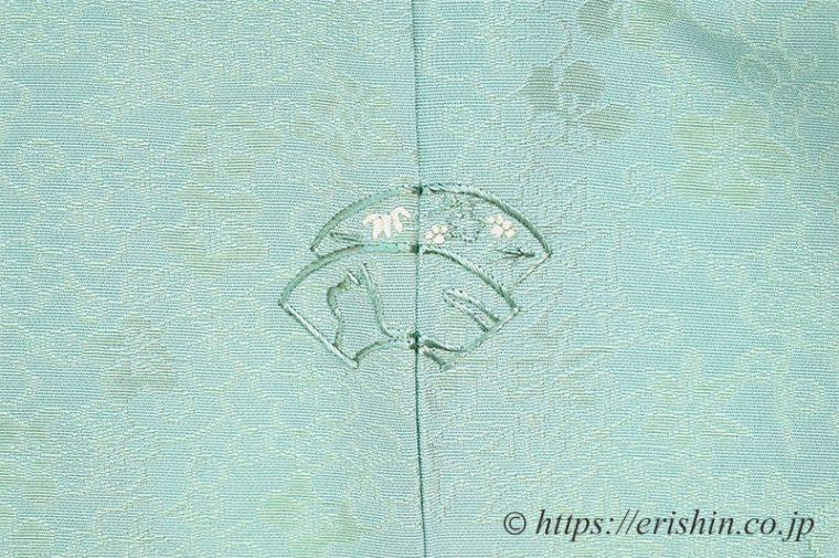 オリジナル手刺繍洒落紋(扇面にネコ)
