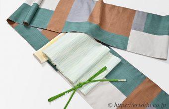 伊那紬(モザイク)に九寸織名古屋帯(曼荼羅)と帯締め・帯揚げのコーディネート