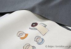 勝山さと子作・絹雲織着尺にカフェタイムの織名古屋帯