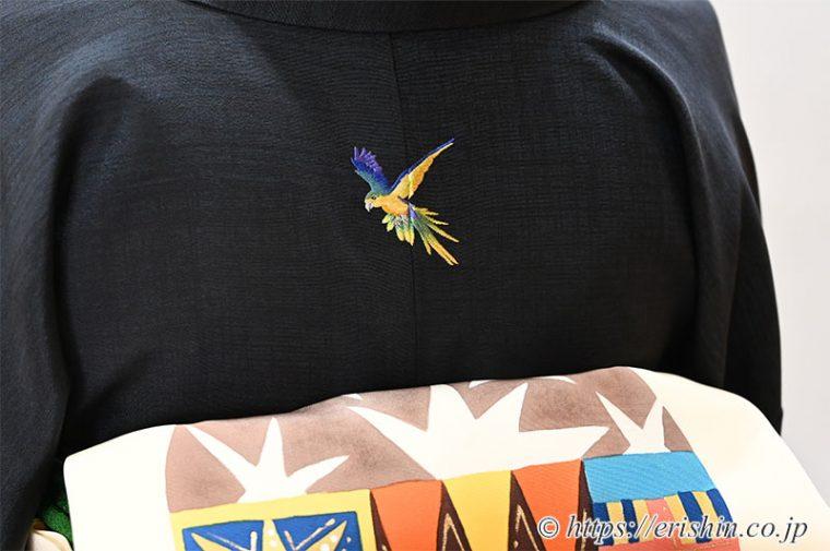 オリジナル刺繍洒落紋(飛翔する鸚哥)