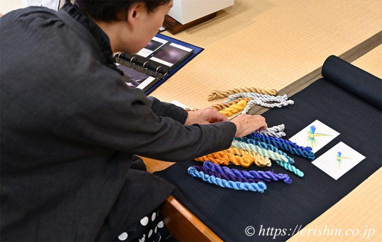 オリジナル刺繍洒落紋の色糸をお選びいただきました。