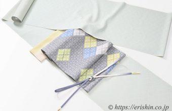 洗える絹の御召に九寸織名古屋帯(夏・単衣向)のコーディネート