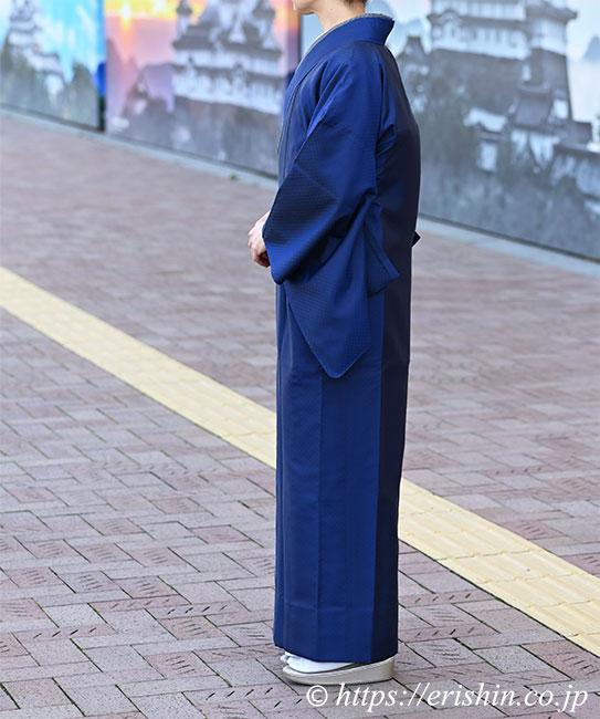 えり新オリジナル 塵よけ兼雨コート「小市松重ね」道中着仕立て(裾までの丈)例