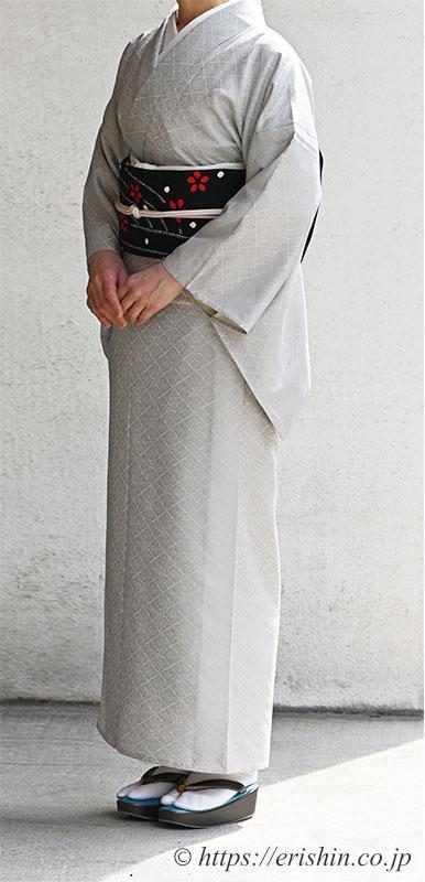 洗える絹の着物「丹後織御召(羊歯菱文)」に絞り入り羽織よりリメイクした名古屋帯