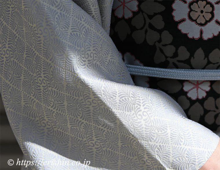 洗える絹の着物「丹後織御召(羊歯菱文)」に北村武資・作 本袋帯
