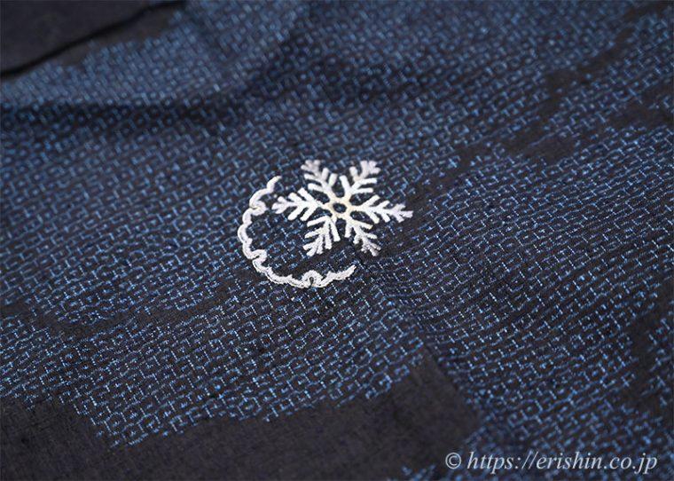 洒落紋のお誂え「雪輪に雪の結晶」