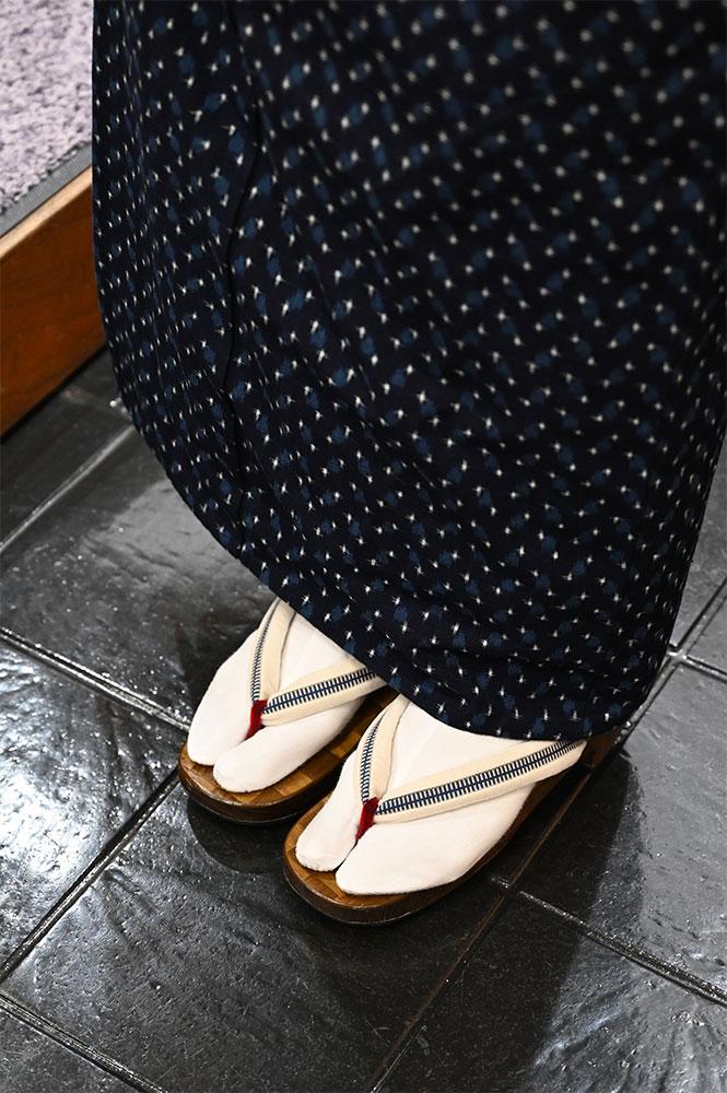 小川内龍夫さんの木綿に、佐々木理恵さんの越前石田縞の名古屋帯