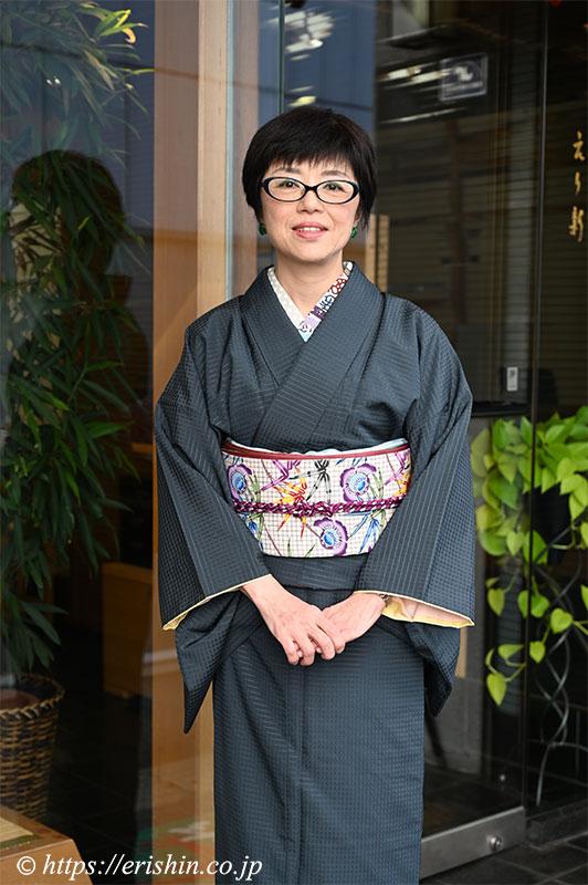 吉野間道に知念貞夫・作 琉球本紅型の染帯