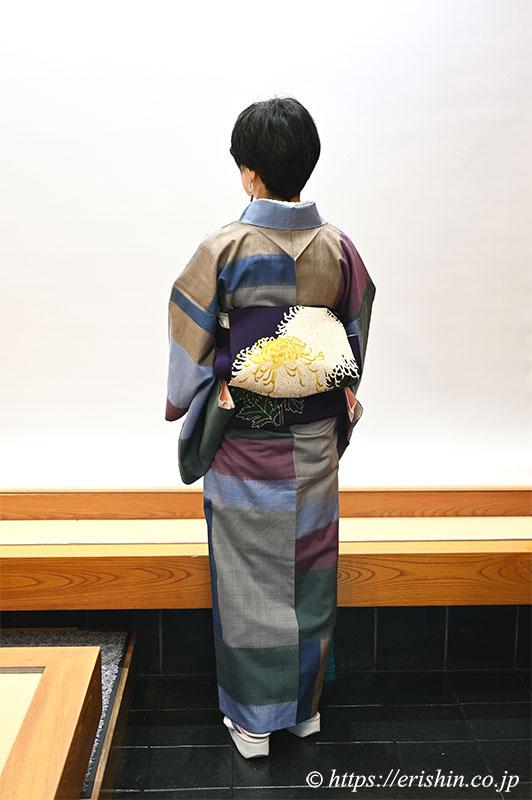 伊那紬に久呂田巧明・作 染名古屋帯